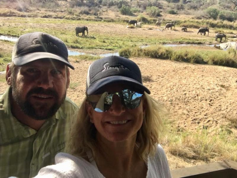 Malaka and Ryan Hilton at Singita with Elephants