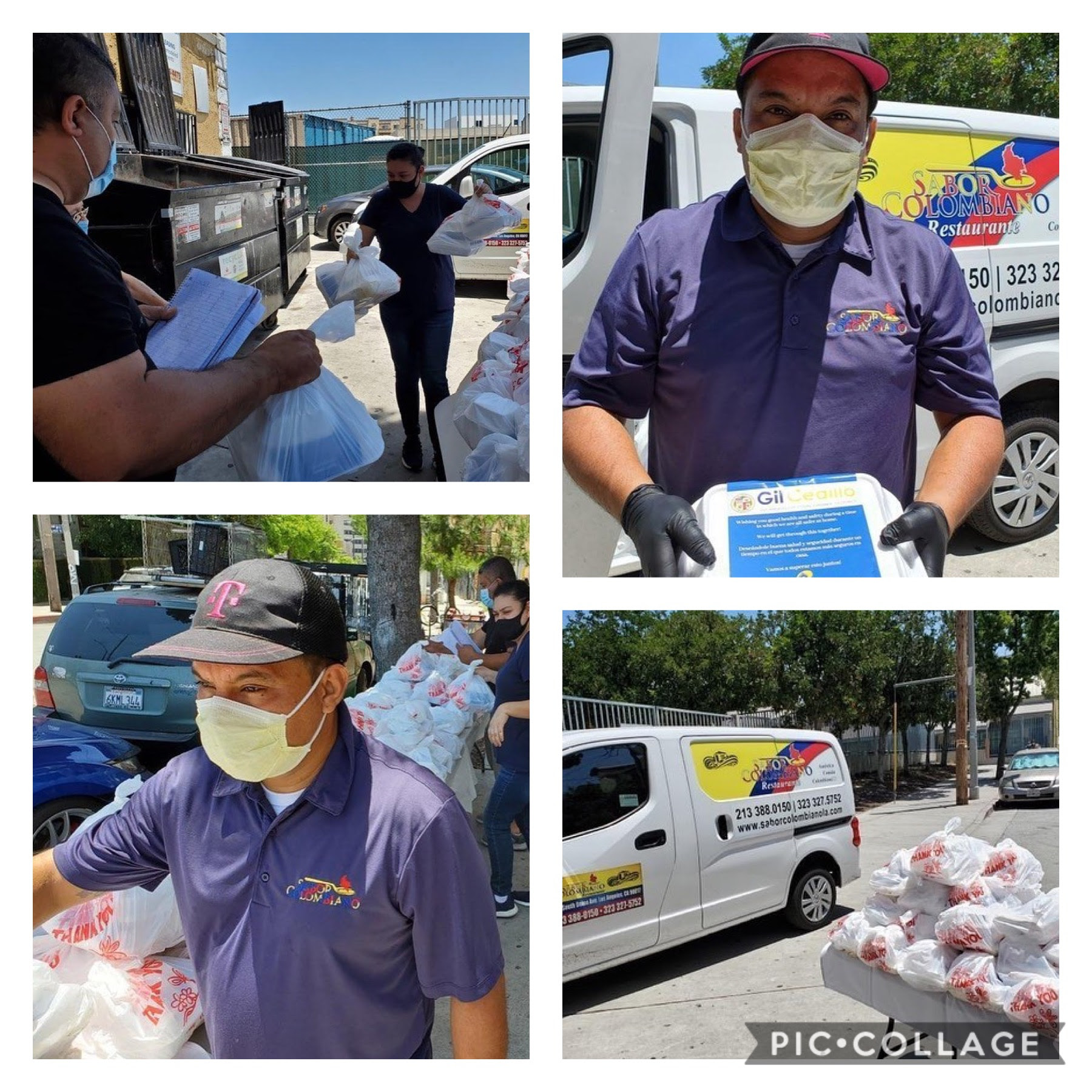 CCNP and Sabor Colmbiano Restaurant, distributed hot meals to families at Hartford Hill Apartments in Westlake 5-23-2020 COLLAGE