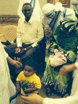 Daniel Wani, Meriam Ibrahim and children after initial release in June. (Morning Star News photo via Shareif ali Shareif)