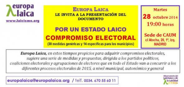 Presentación Compromiso electoral por un Estado laico 2015