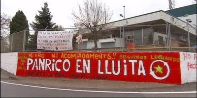 Pancarta de protesta dels treballadors de Panrico.
