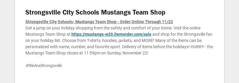Strongsville City Schools Mustangs Team Shop Strongsville City Schools- Mustangs Team Shop -...