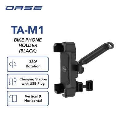 OASE Motor Sepeda Phone Holder 360o Charging Adaptor 4,5-8 inch Cable 1,5m Garansi Resmi 6Bln TA-M1