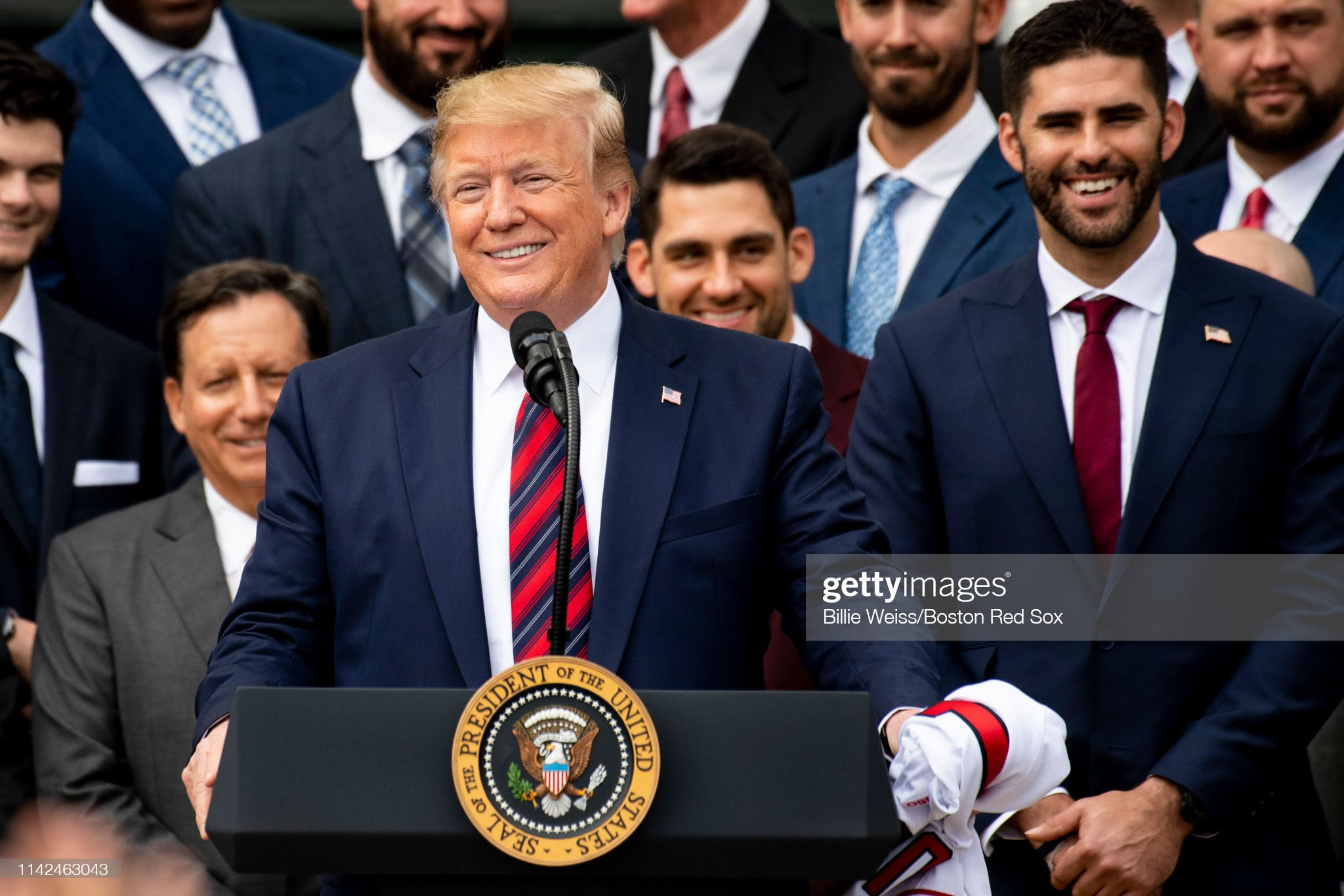 President Trump Hosts 2018 World Series Champion Boston Red Sox At White House : News Photo