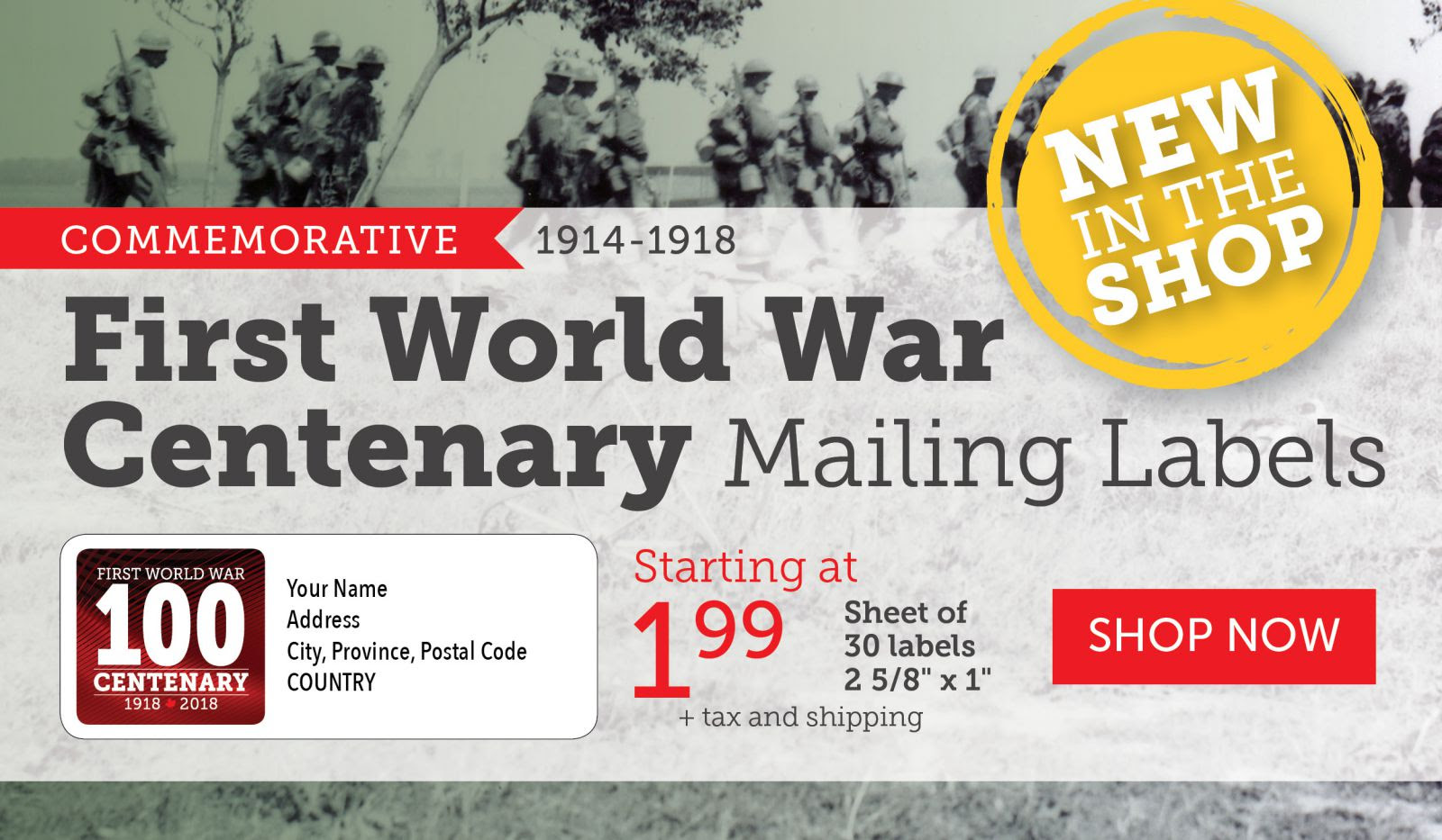 First World War Centenary Mailing Labels (Version 2)