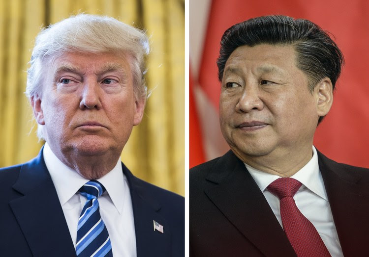 Donald Trump and Chinese President Xi Jinping (EPA)</p>