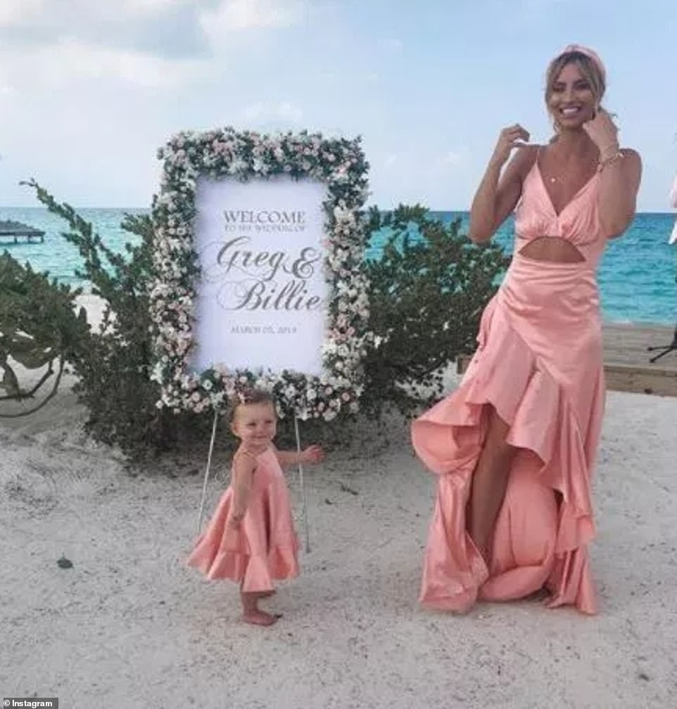 Star in the making: Ferne's sweet daughter Sunday, one, showed she could already strike a pose, as she joined her mum in matching peach silk dresses