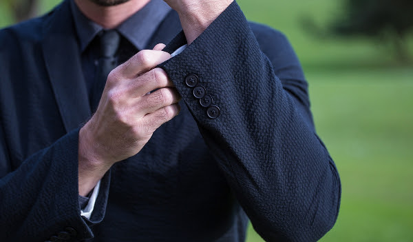 New Black Seersucker Blazer