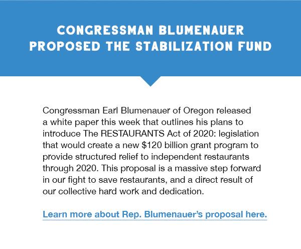 Congressman Blumenauer proposed the stabilization fund