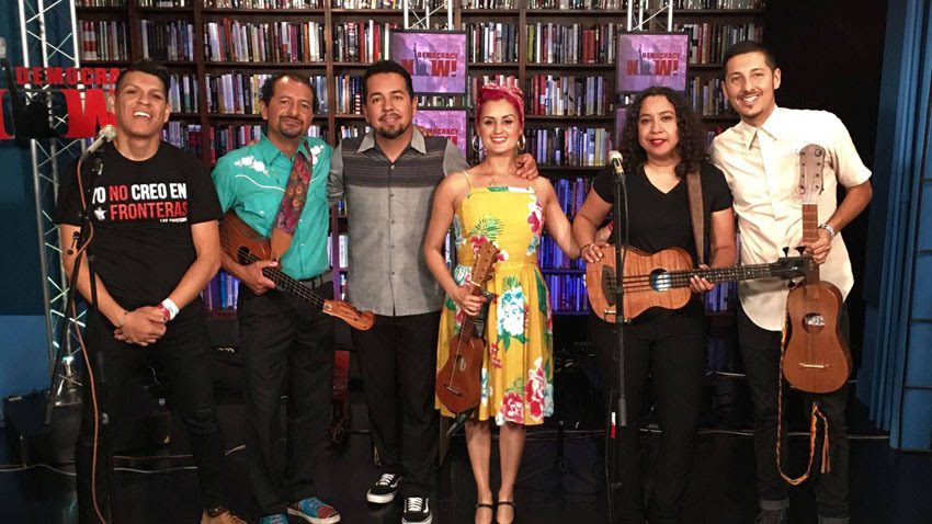 Las Cafeteras, a Los Angeles-based Chicano band, also joined us in studio for an interview and performance.