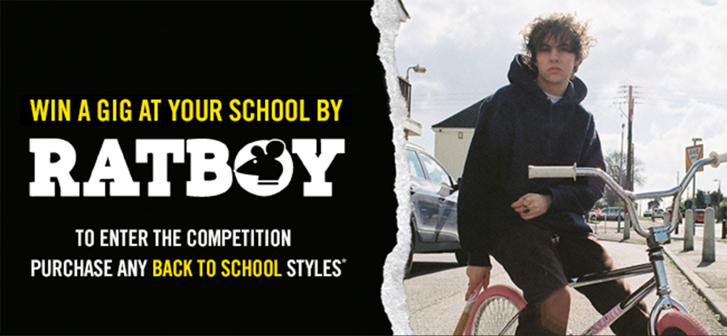 Win a gig at your school by RATBOY. To enter the competition purchase any Back-to-School Styles*