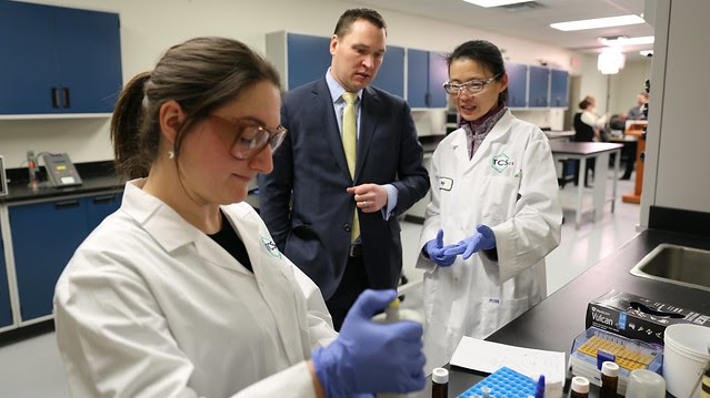 Chemists at TC Scientific describe their work to Minister Bilous
