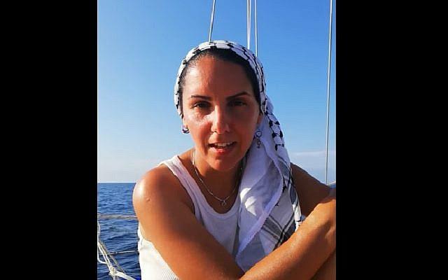 Swedish parliamentary candidate Oldoz Javidi aboard a boat attempting to break the Gaza blockade. (Screen capture: YouTube)