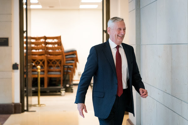 Defense Secretary Jim Mattis on Tuesday. He briefed lawmakers on Capitol Hill about last week's allied airstrikes in Syria.