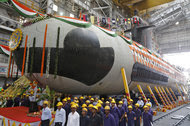 The Indian Navy's first Scorpène submarine at Mazagon Docks, a naval vessel ship-building yard, in Mumbai.
