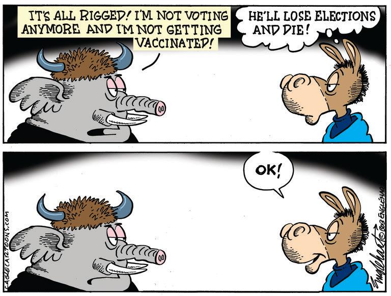 REPUBLICANS, ANTI-VAXERS, VACCINE, VACCINATION, DEMOCRATS, RIGGED, VOTE, VOTING, BALLOT BOX, GEORGIA, TRUMP, INSURRECTIONISTS, PROUD BOYS, KKK, WHITE