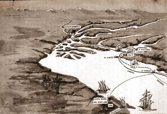 mapa de la época del Río de la Plata y Paraná con ubicación de la muerte de Solís y fuerte Sanct Spiritu