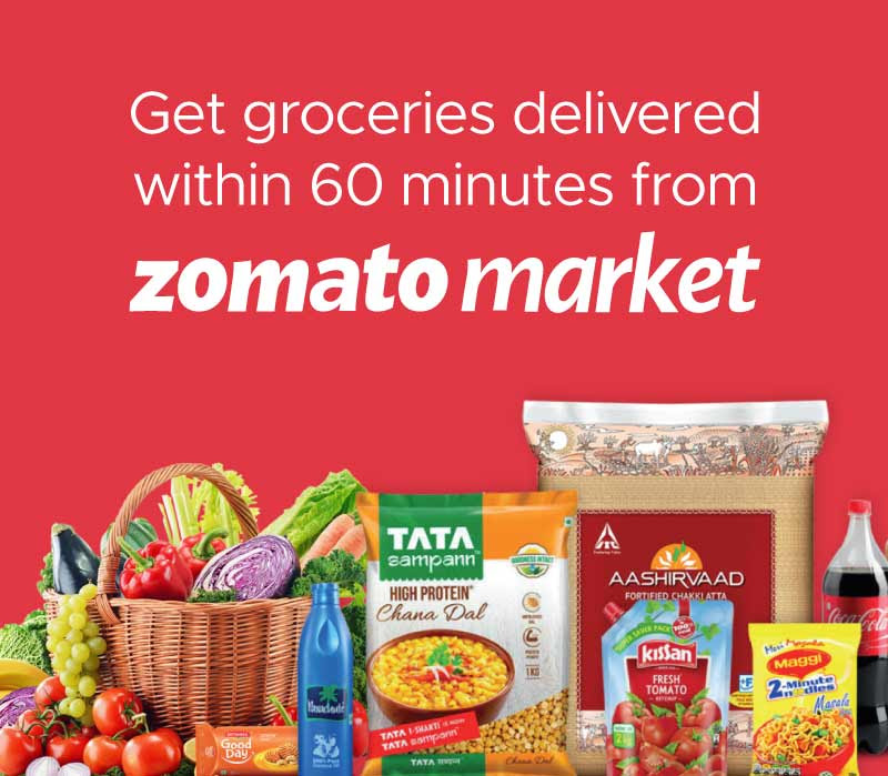 Get groceries delivered within 60 minutes from Zomato market