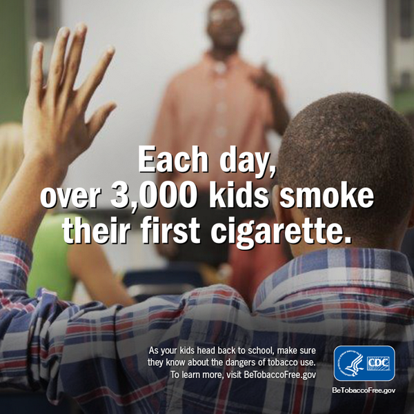 Each day over 3,000 kids smoke their first cigarette.