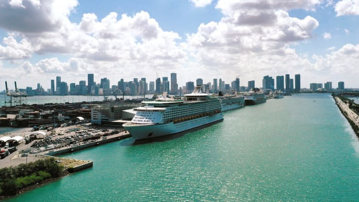 overhead view of Royal Caribbean ship in Miami