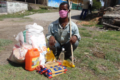 All We Can's local partners have been supporting disabled young people, like Biruk (pictured), by making sure they have access to essential food supplies.
