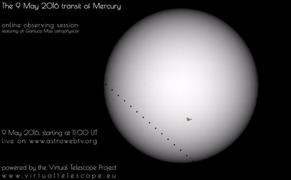 Watch the transit of Mercury online via Virtual Telescope project.