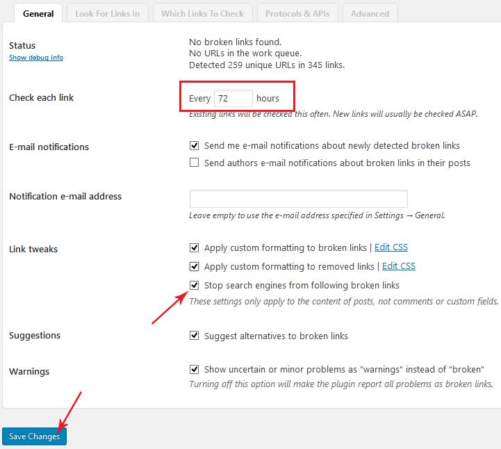 schedule broken link check
