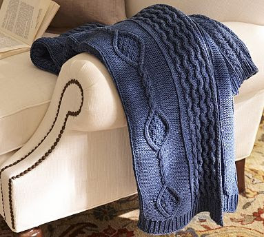 Indigo Knit Throw | Pottery Barn