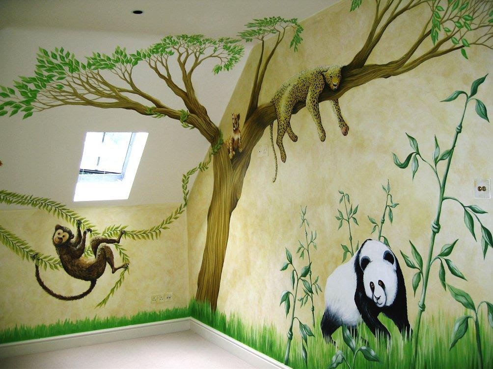 Kids room murals for play zone in jungle style