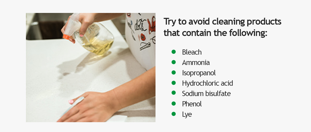 Try to avoid cleaning products that contain the following: