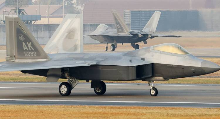 US Air Force F-22 Raptor stealth jets are seen at a South Korean air base in Gwangju. (AFP/Getty Images)
