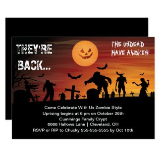 Graveyard Zombie Halloween Party Invitation