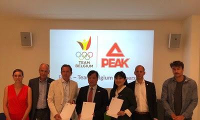 Peak Sport y el Comité Olímpico Belga firmaron un acuerdo de cooperación estratégica en Bruselas. (PRNewsfoto/Peak Sport)
