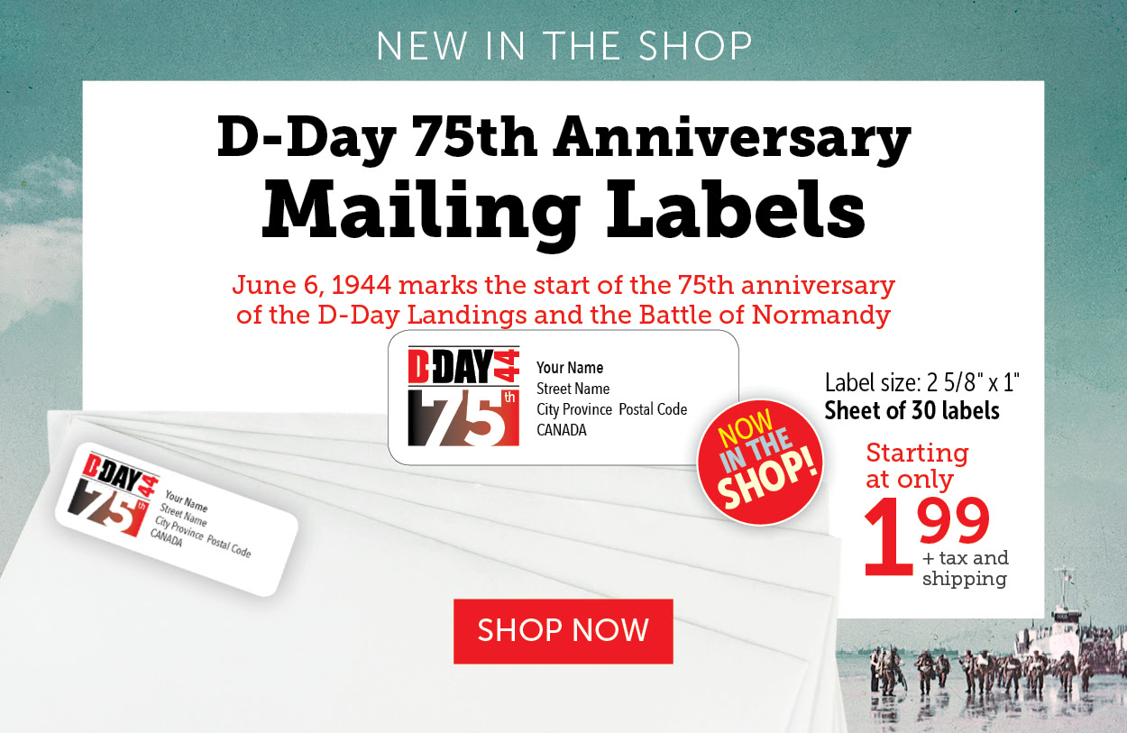 D-Day Mailing Labels - 75th Anniversary Labels Version 2