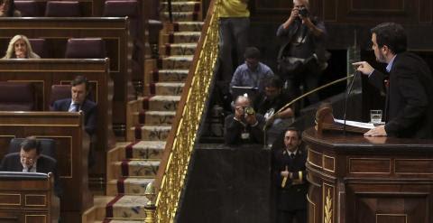 El candidato de IU a la Presidencia del Gobierno, Alberto Garzón, durante su intervención en la sesión de tarde de la primera jornada del vigésimo quinto debate del estado de la nación, la cita parlamentaria anual más importante del año, que se celebra ho