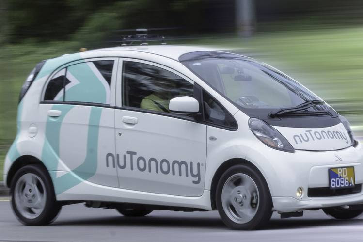 A Mitsubishi i-MiEV electric vehicle being tested by nuTonomy,