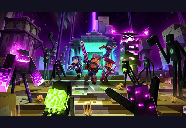 Key art for Minecraft Dungeons Echoing Void DLC featuring various Enderman-like mobs encroaching on a Minecraft Dungeons party in The End biome.