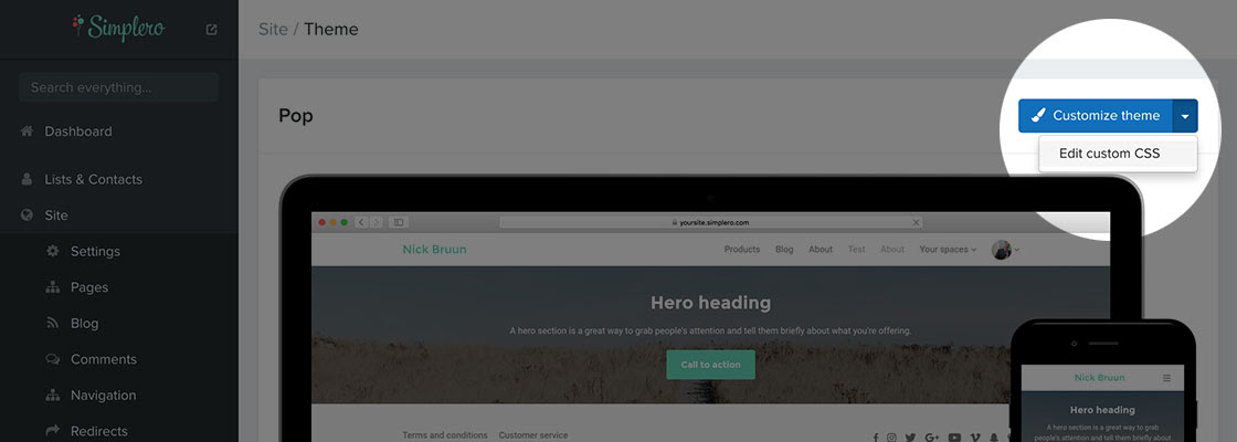 Edit custom CSS for site themes