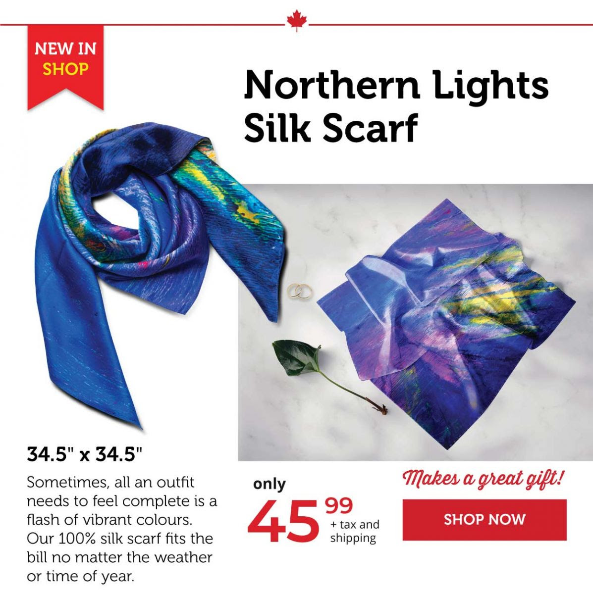 Northern lights silk scarf