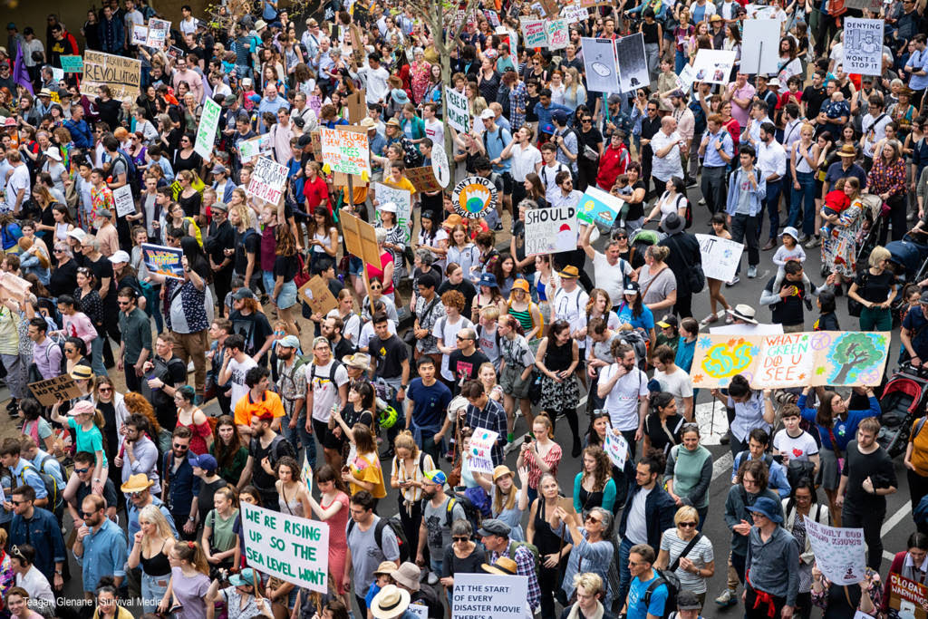 A wide-angle shot of hundreds of thousands at the climate strike in Melbourne, Australia