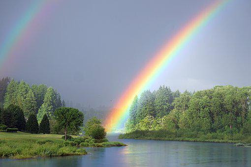 Rainbow, River, Nature, Landscape