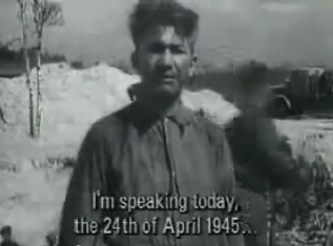Here a person is speaking presenting                             himself as a medical doctor Mister Fed                             Little (Fritz Klein), and he says that this                             day would be April 24, 1945 standing before                             the mass grave (15min. 54sec.)
