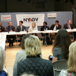 Senator Kirsten Gillibrand and Mayor Noam Bramson lead round discussion in New Rochelle.