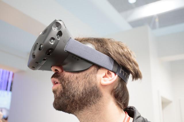A man using a virtual reality headset