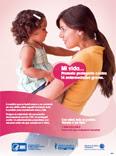 Spanish-language poster with mom holding child