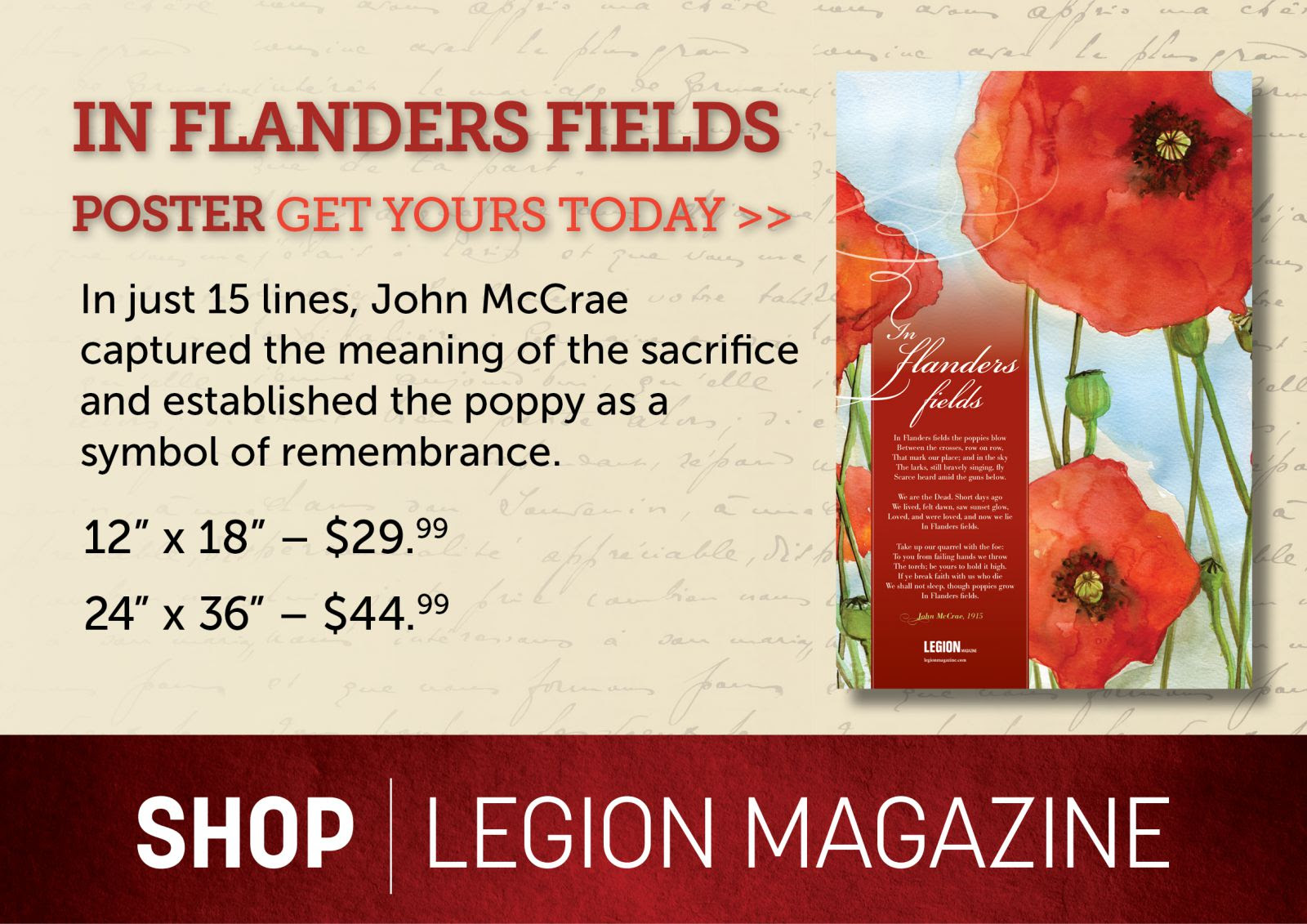 In Flanders Fields - Get yours today!
