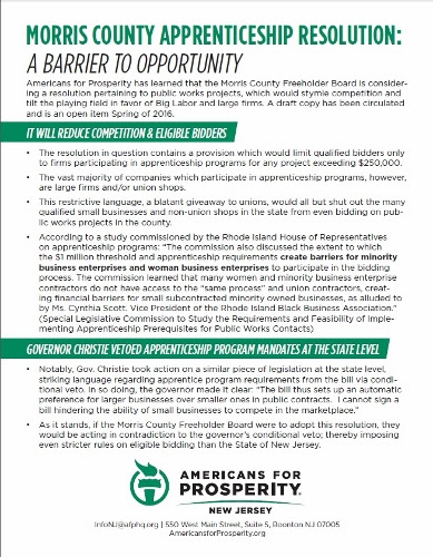 Morris County Apprenticeship Resolution Brief