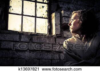 Stock Photography - Prisoner woman dreams of freedom. Fotosearch - Search Stock Photos, Pictures, Prints, Images, and Photo Clip Art