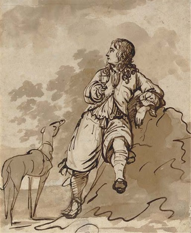 A boy leaning on a rock, holding a wine glass in his hand, a greyhound to  the left by Jacob Esselens on artnet