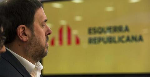El presidente de ERC, Oriol Junqueras, durante su intervención en el Consell Nacional del partido. / EFE